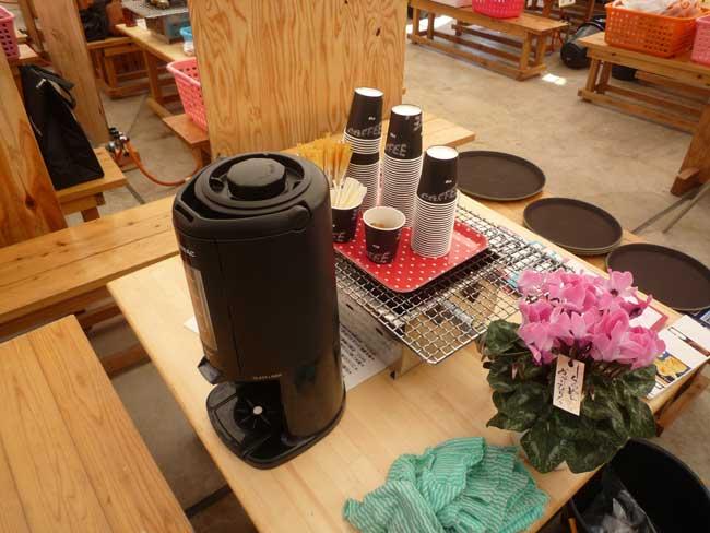 正栄 船越漁港の牡蠣小屋 コーヒーの無料サービス